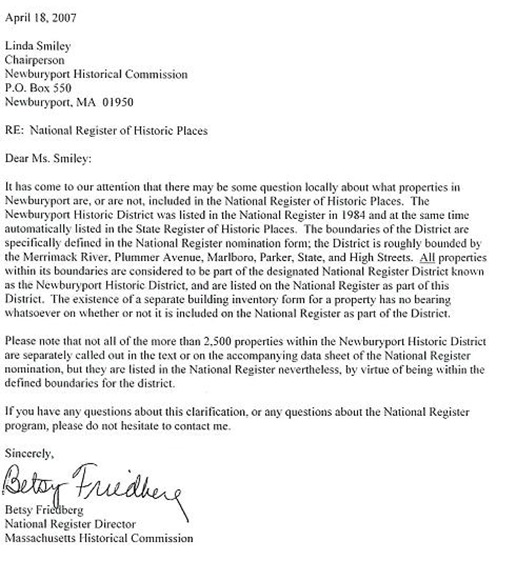 Letter on inclusiveness of NROHP